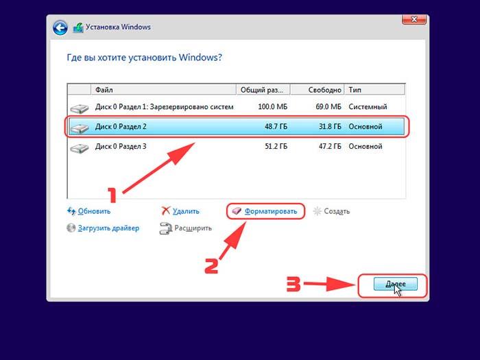 Выбор раздела для установки Windows