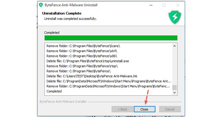 Завершение удаления Bytefence Anti-Malware с вашего компьютера