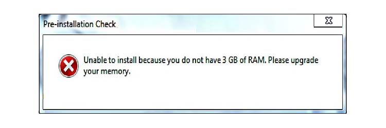 "Ошибка ""Unable to install because you do not have 3 gb of ram"""
