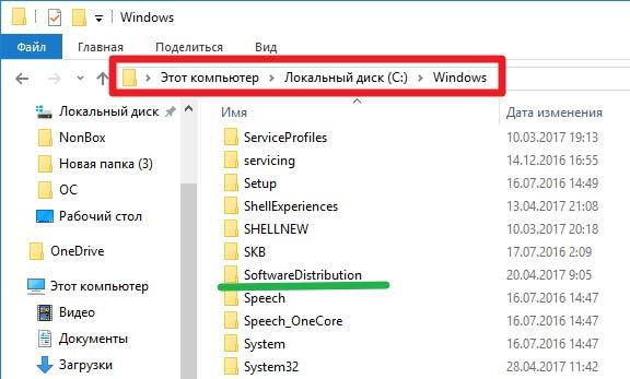 Расположение папки SoftwareDistribution в Виндовс 10