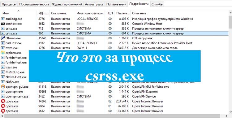 Процесс csrss.exe в диспетчере задач