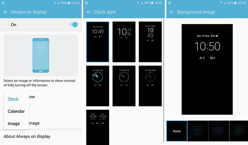 Активация и настройка функцииAlways On Display в Samsung Galaxy S7